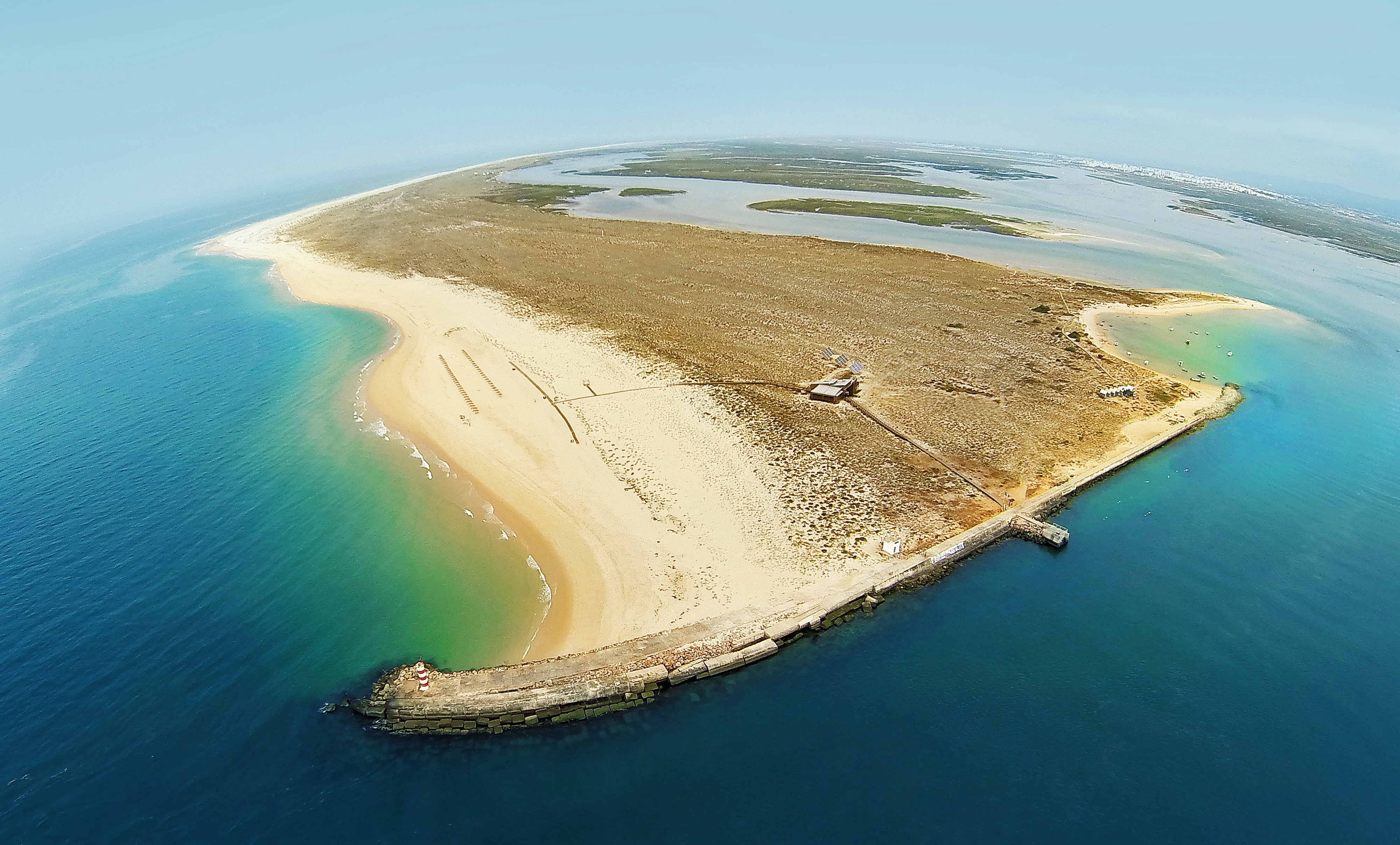 Aerial View Of Ilha Deserta Algarve Portugal