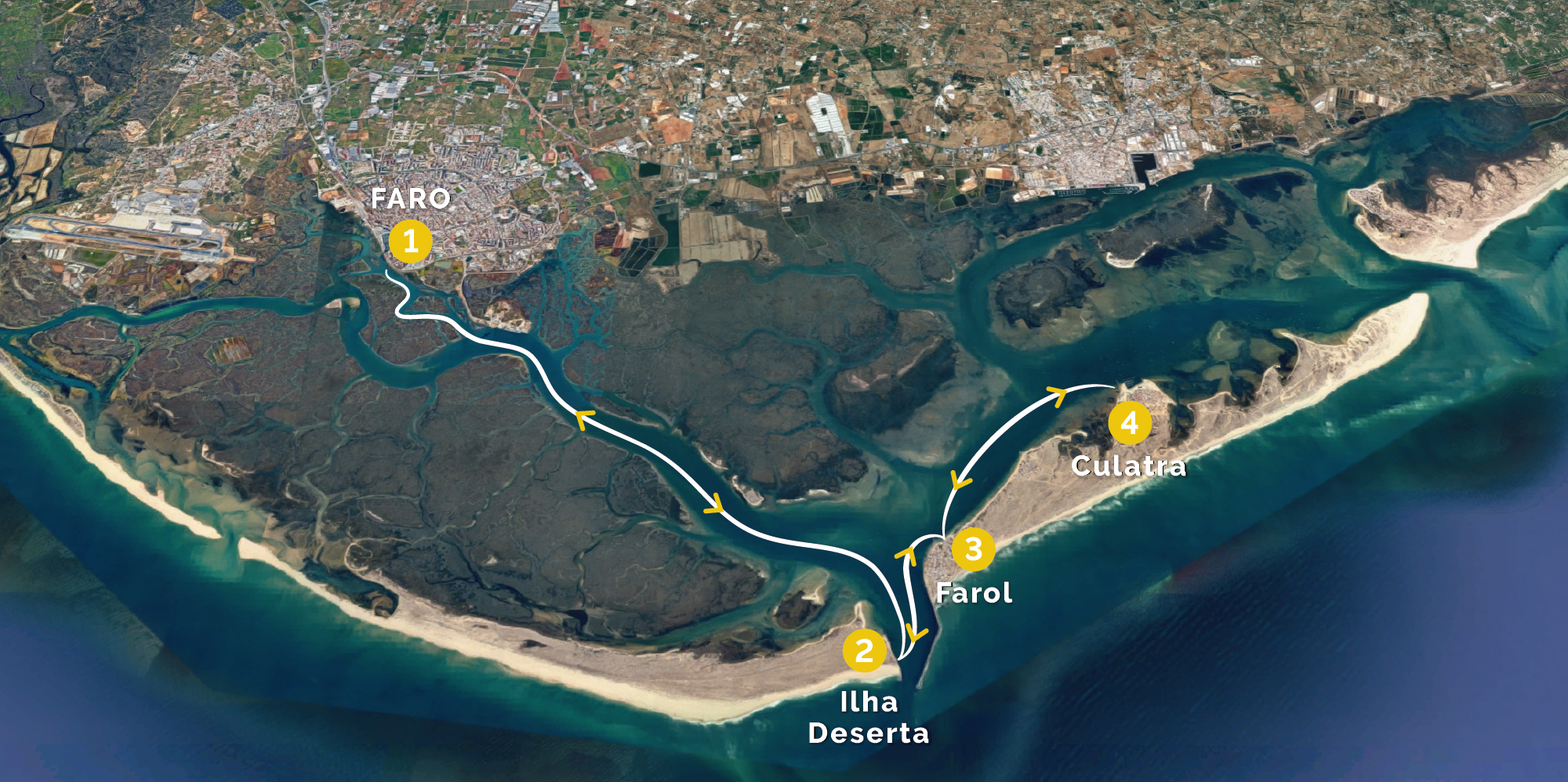 Map of Islands Hop On Hop Off Tours on Ria Formosa by Animaris
