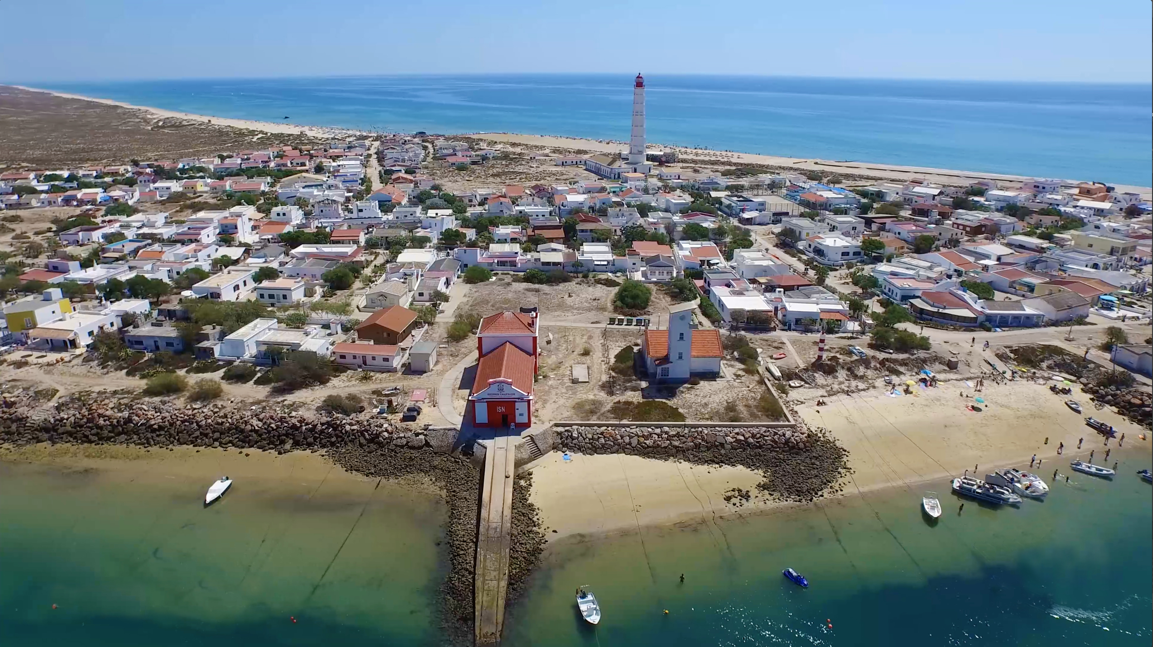 Aerial View of Farol Island Algarve Portugal